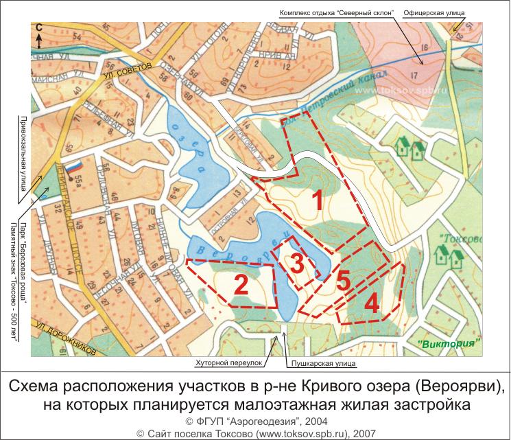 Обзорная схема расположения земельных участков, на которых планируется жилая малоэтажная застройка (поселок Токсово...